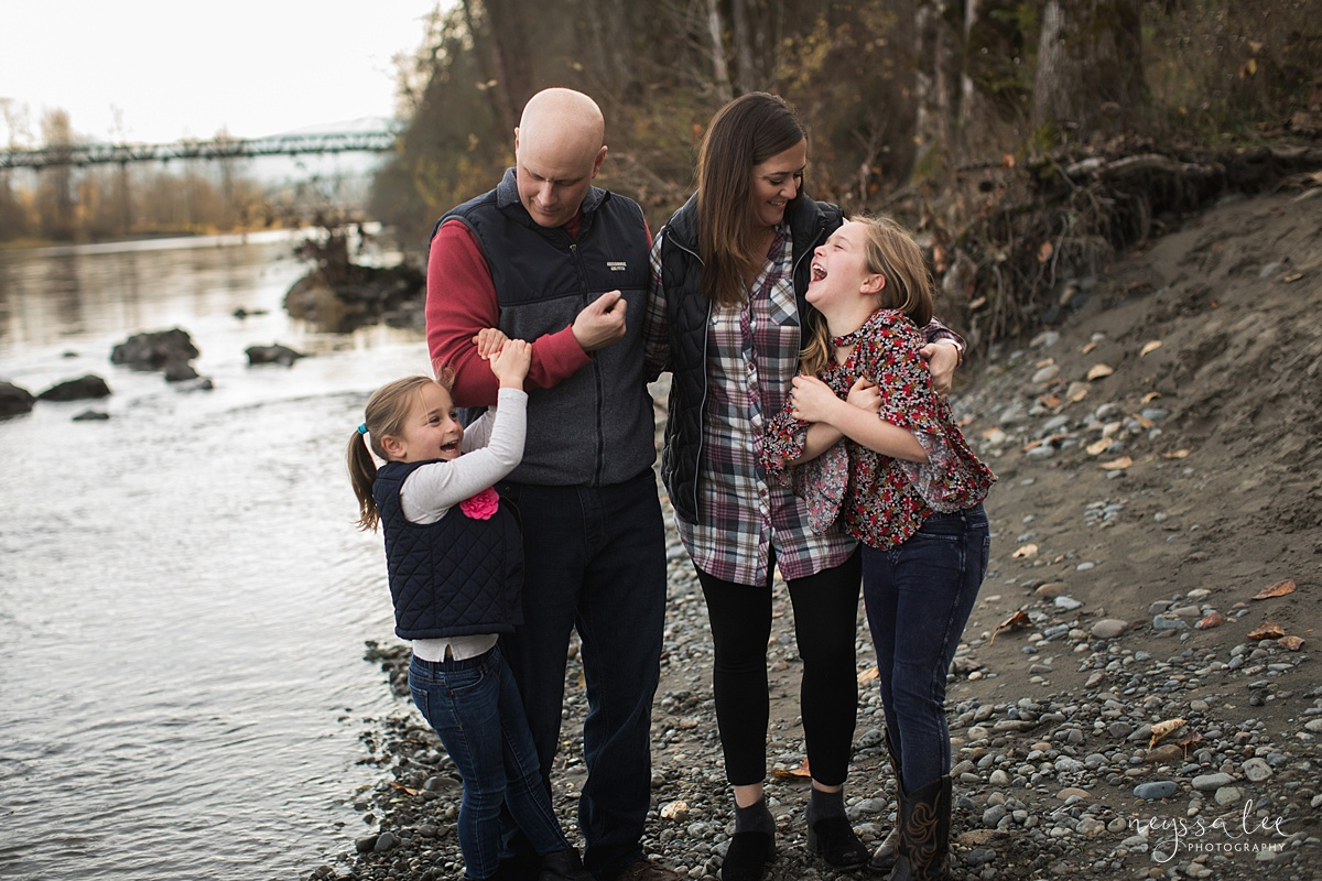 Location for family photos, Neyssa Lee Photography, Seattle Family Photographer, Bellevue Photography, Photo of Family playing by the river