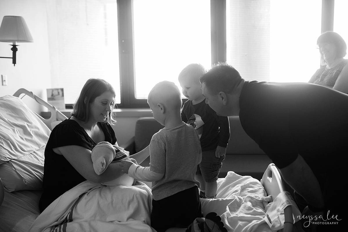 Neyssa Lee Photography, Issaquah and Bellevue Fresh 48 Photographer,  black and white photo of family of five together for first time in hospital