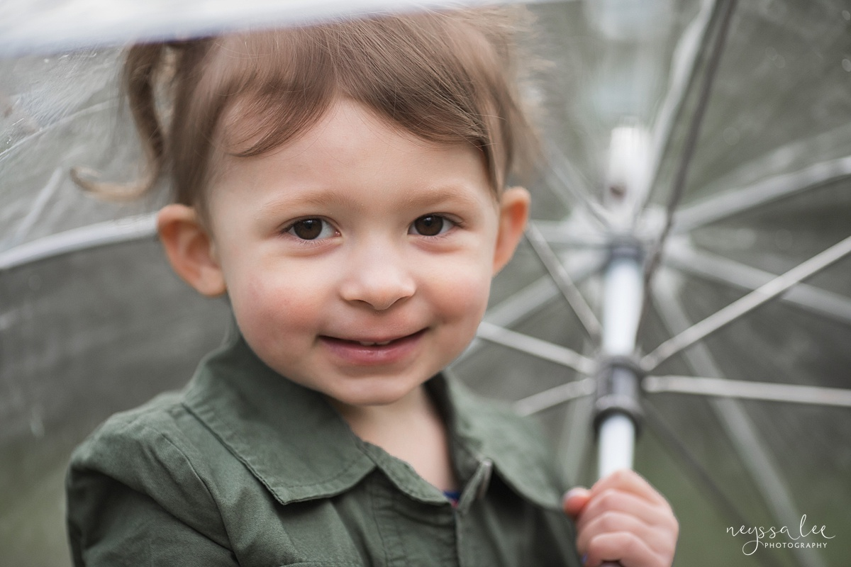 Neyssa Lee Photography, Issaquah Family Photographer, Family Photos with Grey Skies, Lake Sammamish State Park, Portrait of girl holding umbrella
