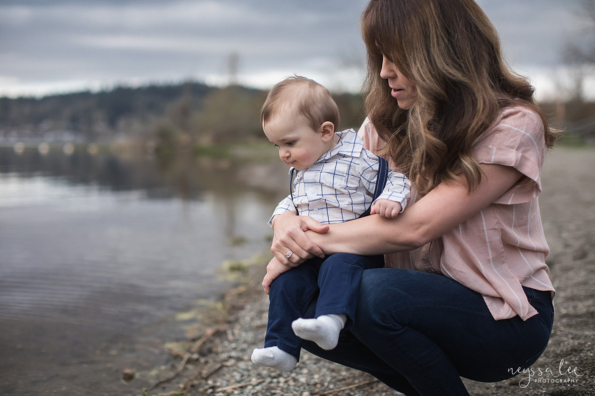 Neyssa Lee Photography, Issaquah Family Photographer, Family Photos with Grey Skies, Lake Sammamish State Park, Photo of mom and baby boy by water