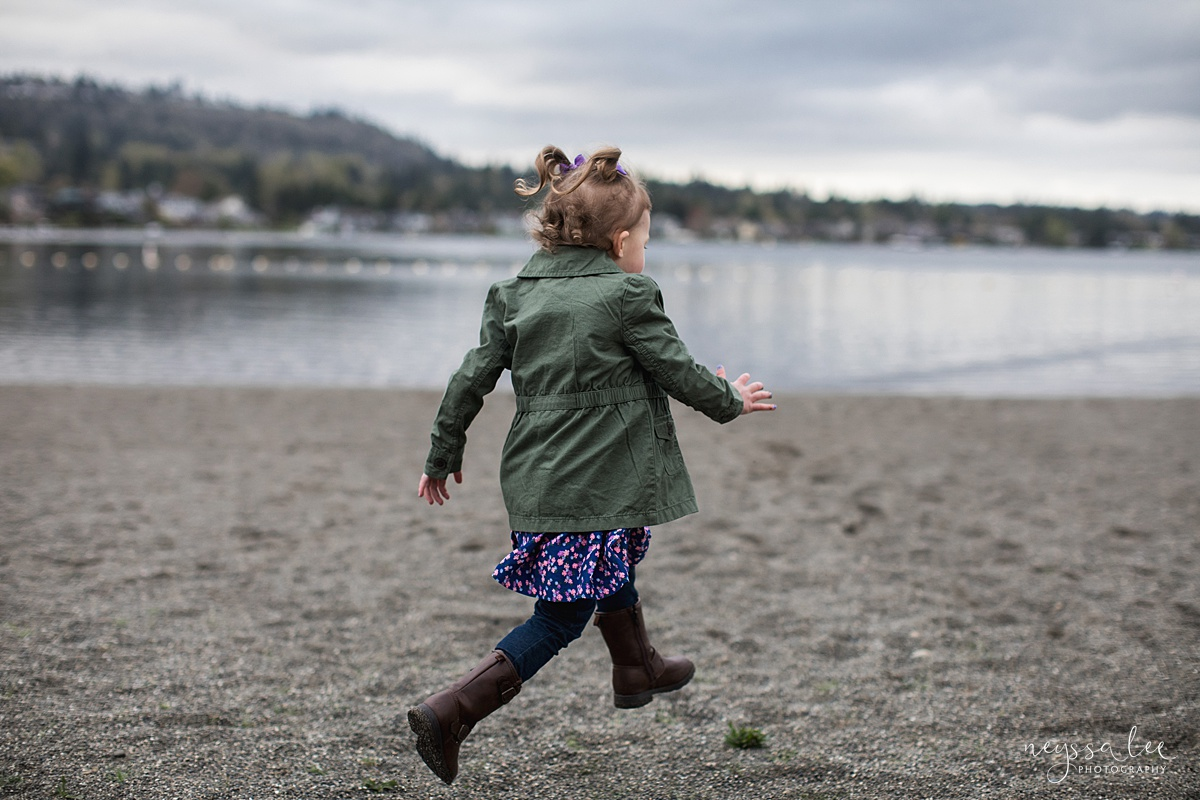 Neyssa Lee Photography, Issaquah Family Photographer, Family Photos with Grey Skies, Lake Sammamish State Park, Photo of preschool aged girl running