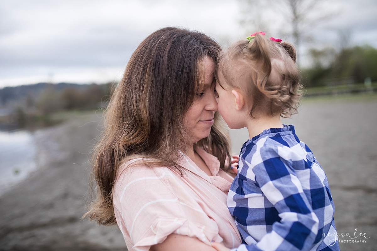 Neyssa Lee Photography, Issaquah Family Photographer, Family Photos with Grey Skies, Lake Sammamish State Park, Photo of mother and daughter