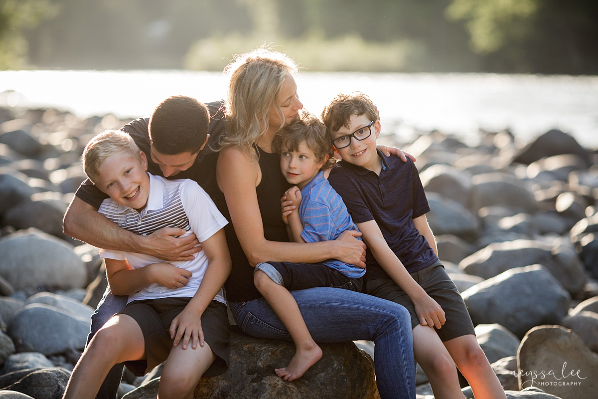 Neyssa Lee Photography, Family Photos with Older Kids, Bellevue Family Photographer, Snoqualmie Family Photography, Family of 5,  Lifestyle photo of family sitting by the river