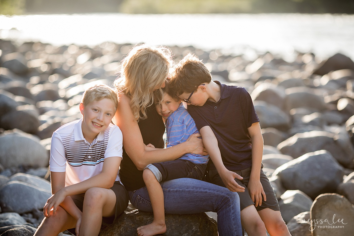 Neyssa Lee Photography, Family Photos with Older Kids, Bellevue Family Photographer, Snoqualmie Family Photography, Family of 5,  Photo of mom and three sons by the river in beautiful light