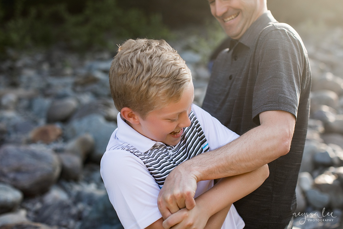 Neyssa Lee Photography, Family Photos with Older Kids, Bellevue Family Photographer, Snoqualmie Family Photography, Family of 5,  Playful photo of father and son