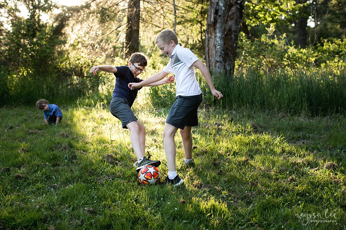 Neyssa Lee Photography, Family Photos with Older Kids, Bellevue Family Photographer, Snoqualmie Family Photography, Family of 5,  Photo of boys playing soccer in beautiful light