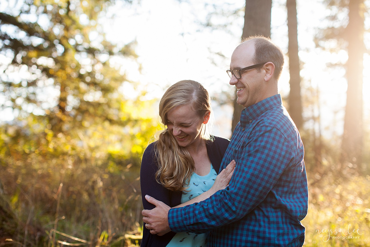 Neyssa Lee Photography, Seattle Family Photo Experience, Photo of couple laughing together in beautiful light