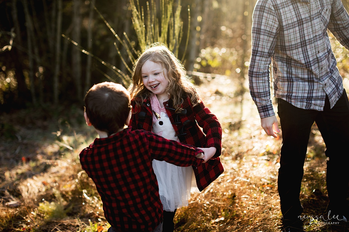 How to use fall accessories to make your family photos pop, Neyssa Lee Photography, Seattle family photographer, Photo of brother and sister laughing and playing together