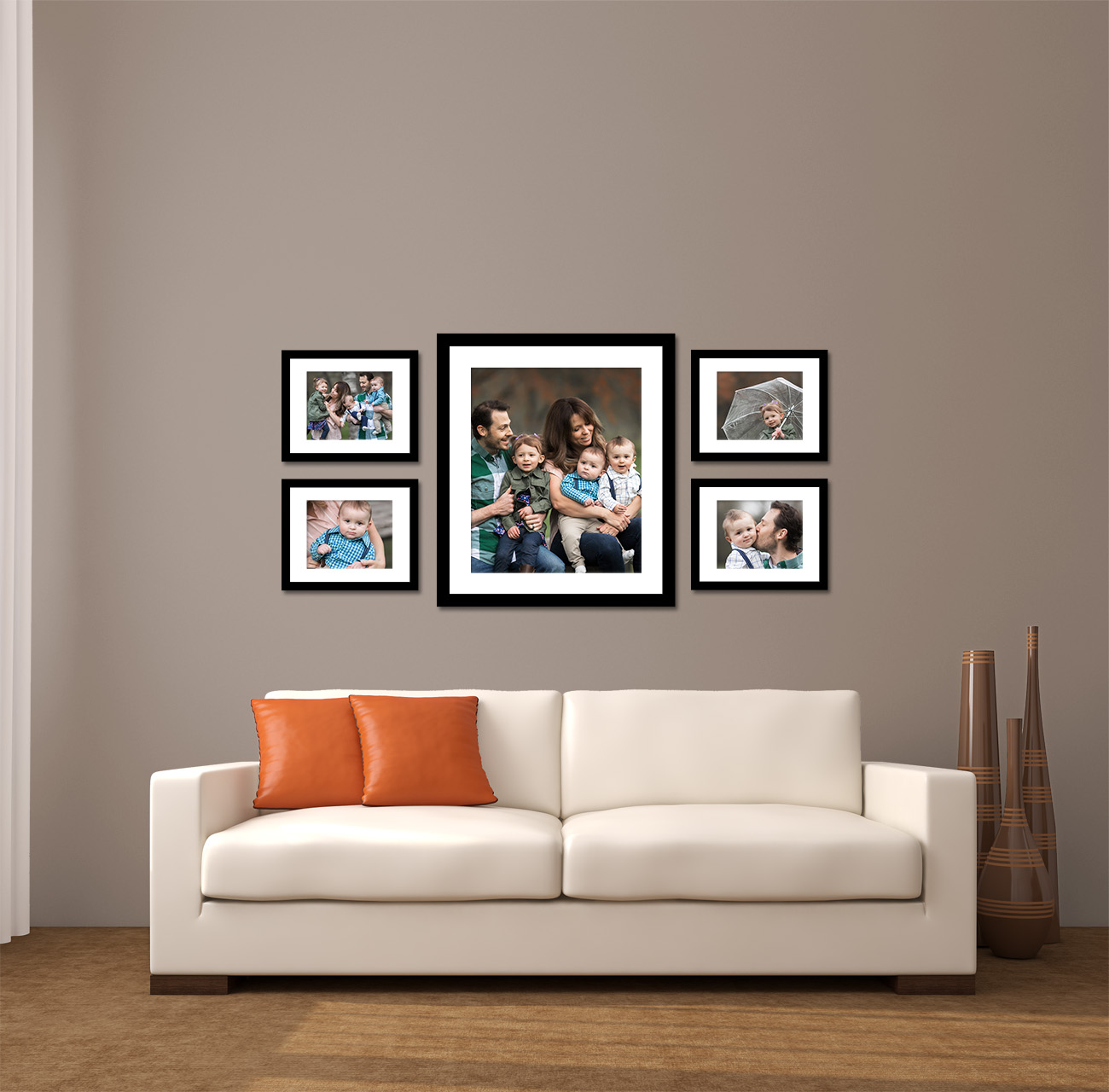 (1) 20x24'' print with a 3'' mat and (4) 8x10 prints mounted to 11x14s