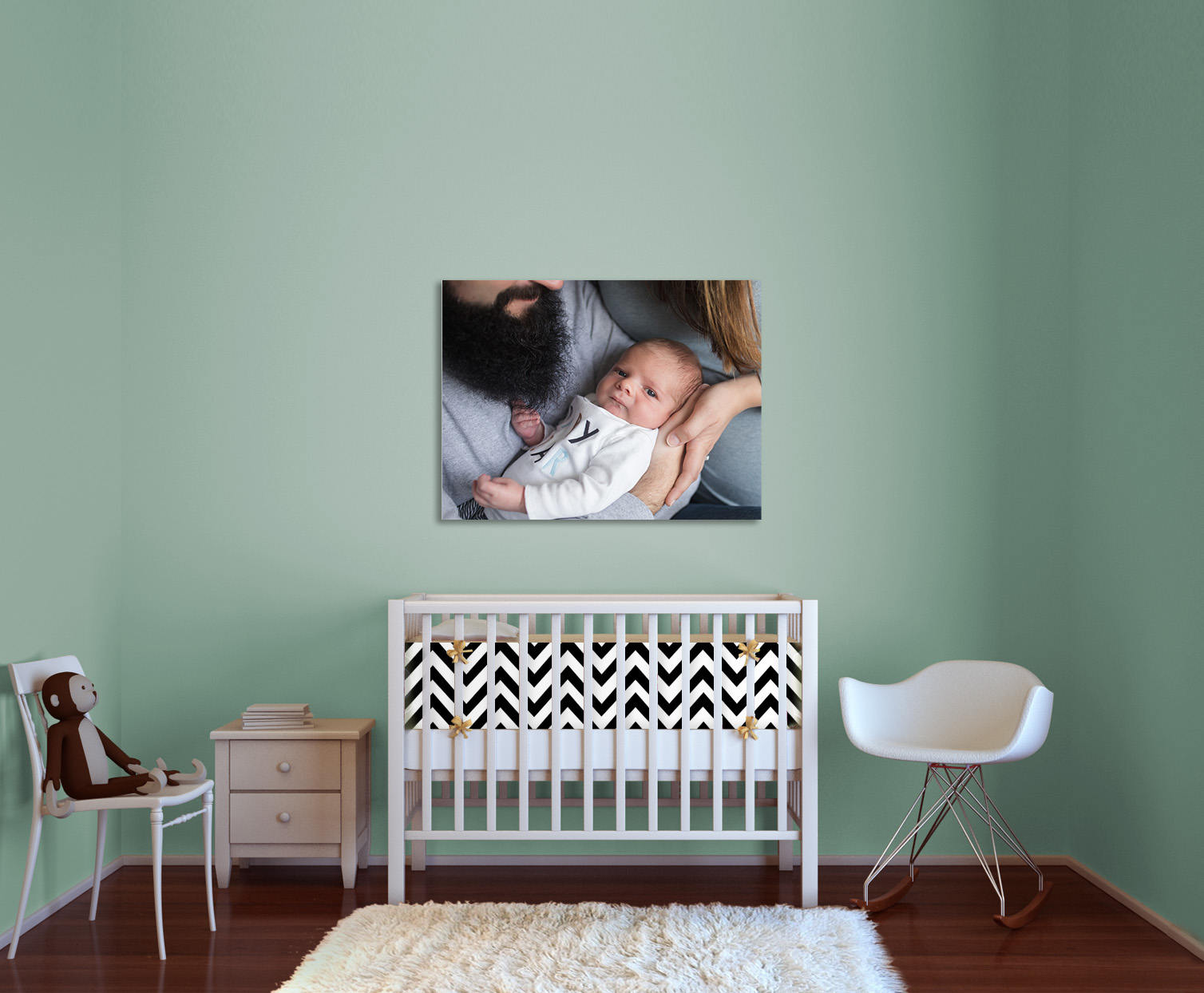 (1) 20x30 Canvas fills the space and makes a statement.