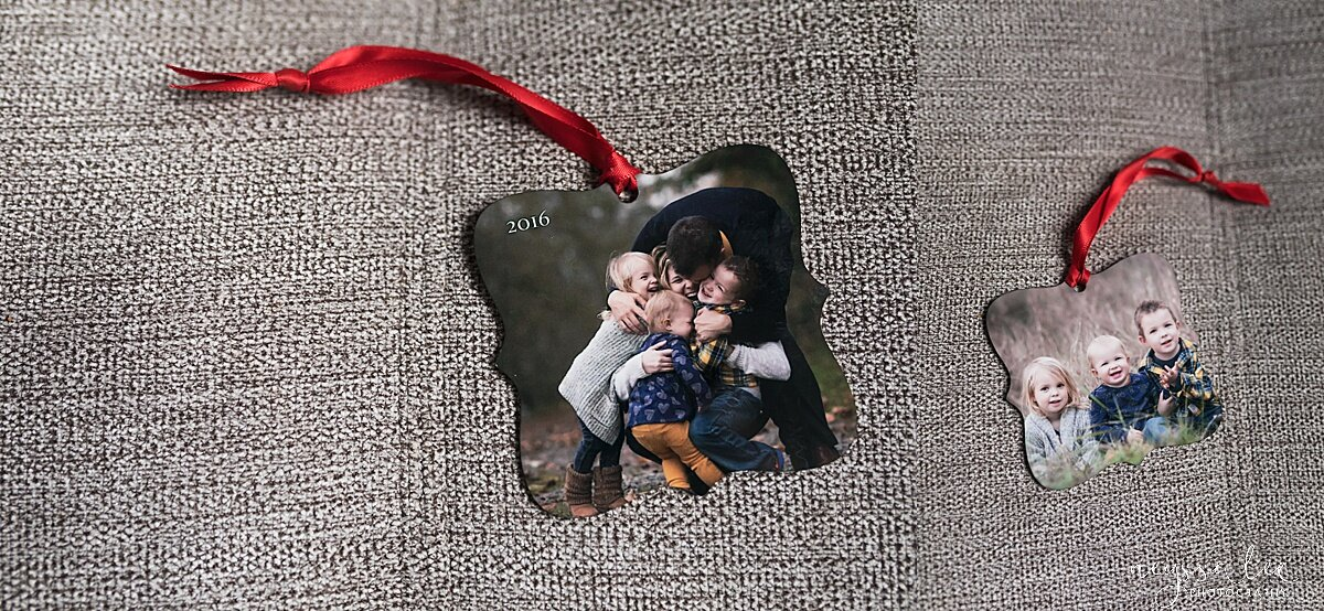 Custom, double-sided metal photo ornament will be a favorite to hang on their tree year after year.