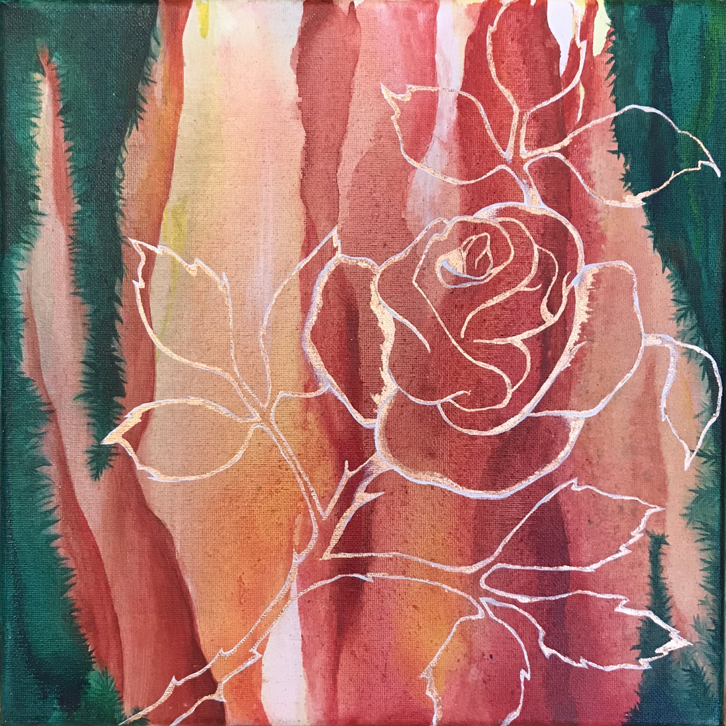 """Resin coated rose 12""""x12"""" on super sale for $100"""
