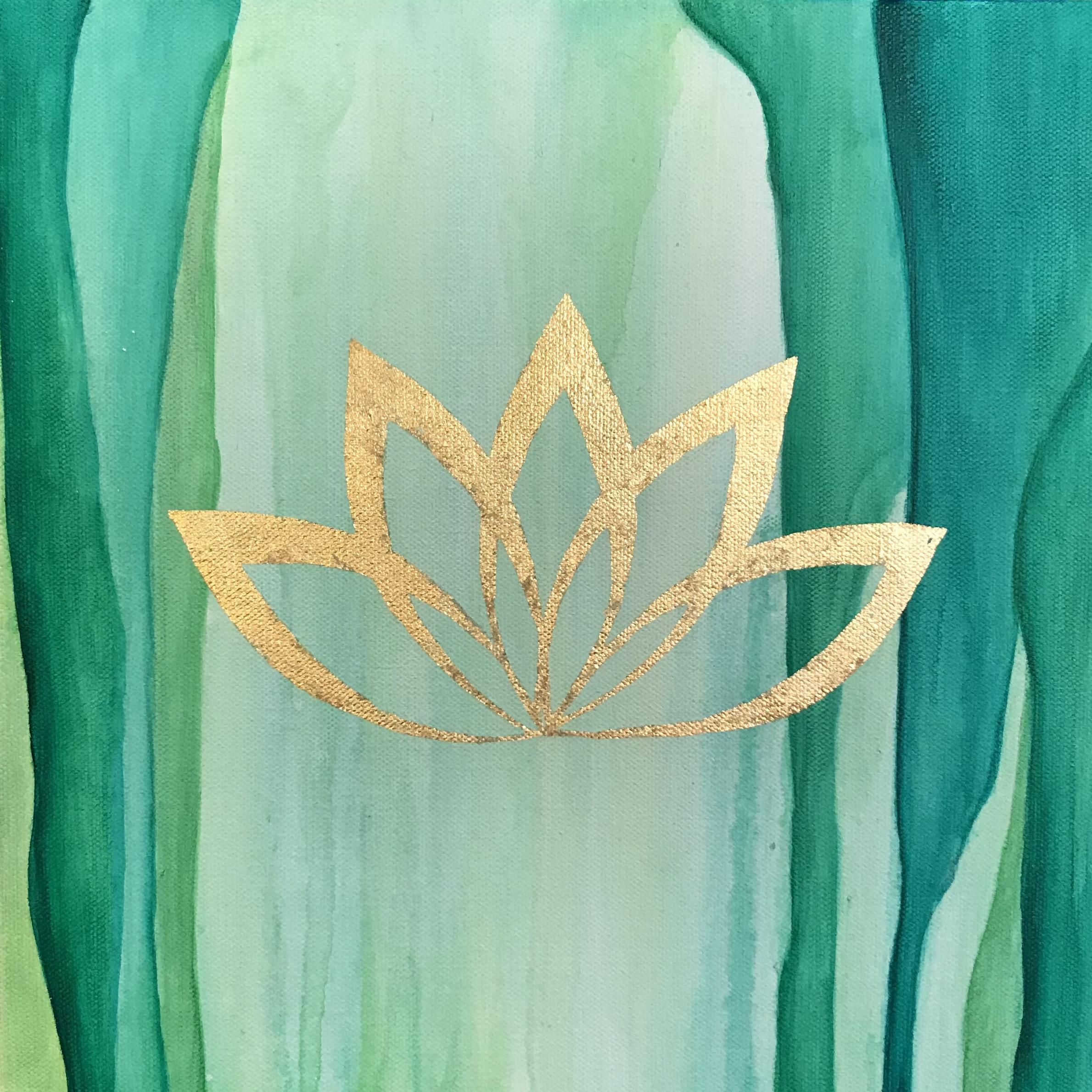 """Green Lotus 12""""x12"""" $150"""