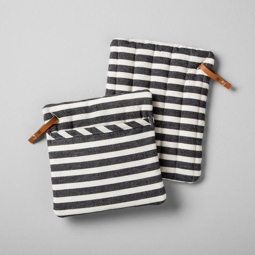 Striped Pot Holder (Set of 2) - Black/White