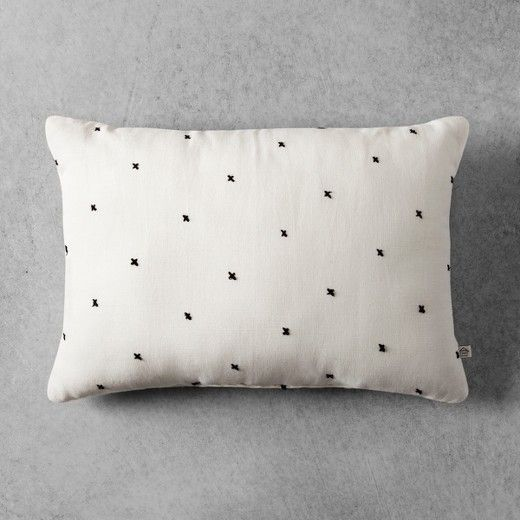 """Embroidered X Pattern Throw Pillow (14""""x20"""") - Cream"""