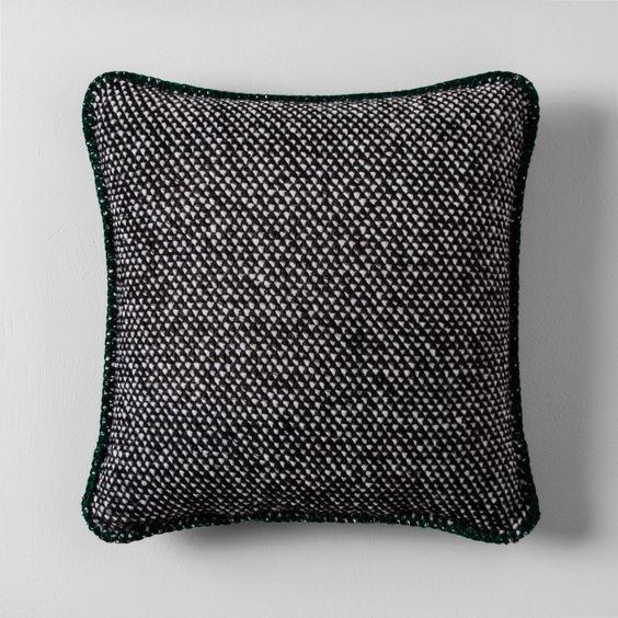 "Knit Wool Throw Pillow (18"") - Black"