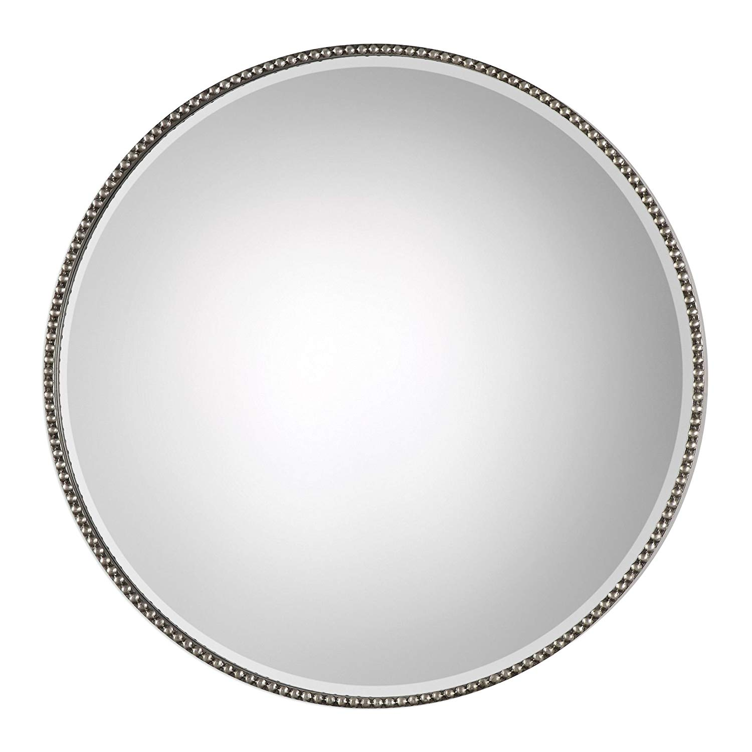 Round Stefania Antiqued Silver Beaded Round Wall Mirror