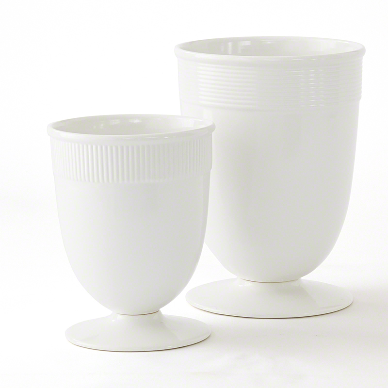 Pizza Large Banded Ceramic Vase in White