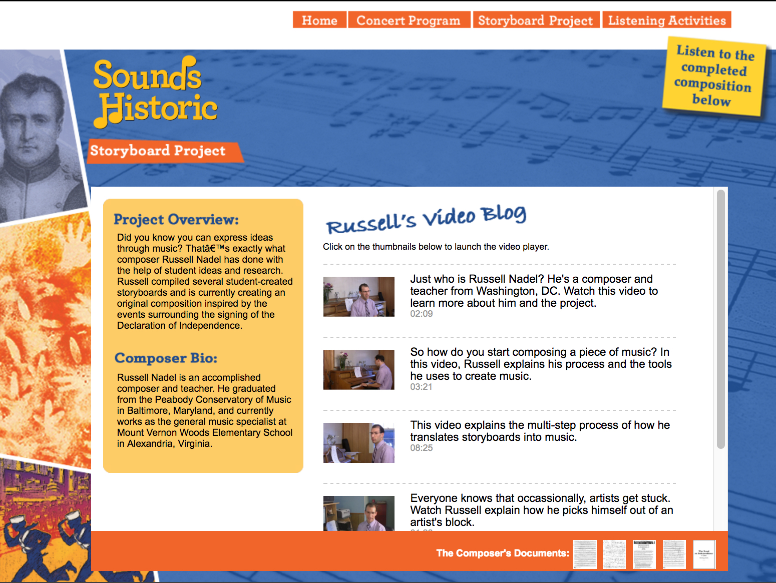 """Click the image to visit the """"Sounds Historic"""" website sponsored by ARTSEDGE, with musical drafts, documentation, storyboard suggestions, and video-blog (""""vlog"""") entries related to the project"""