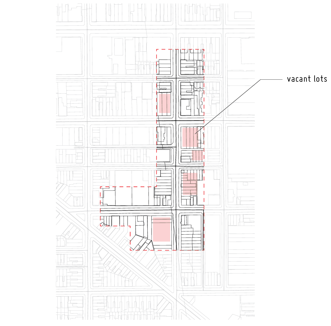 perimeter of targeted strip and vacant lots for potential intervention