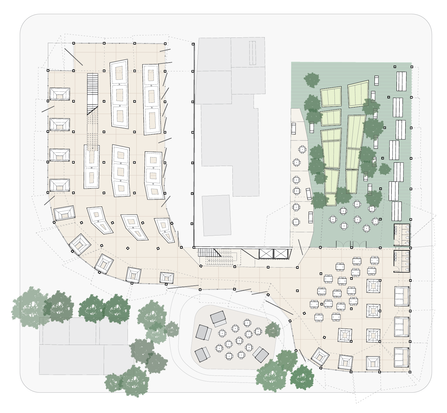 level 1 plan: two main market areas, one indoor dining area, and two smaller outdoor dining areas