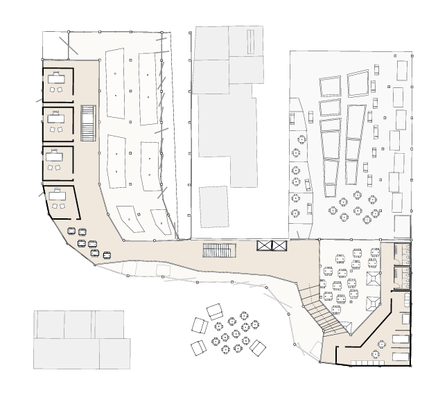 level 2 plan: offices, admin, apartment, storage, and lounges for staff