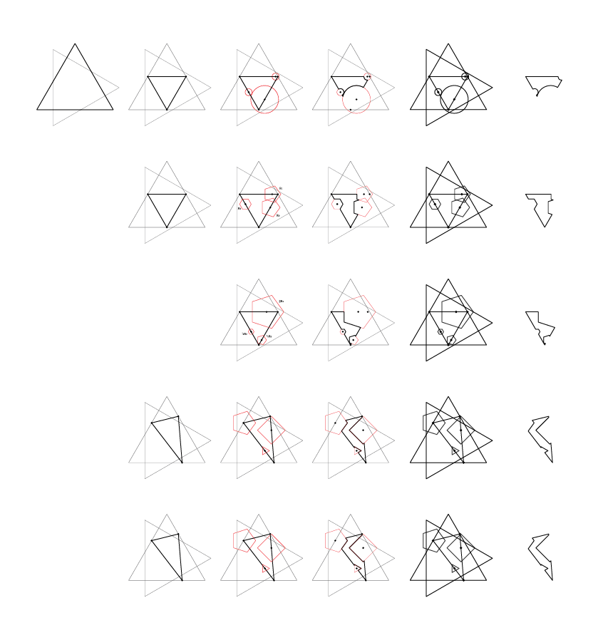 triangle based shapes generated from circular and polygonal cut-outs and shifted edge points