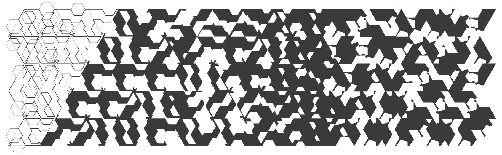 2D grid with triangle base generated from parameters, rotations, and variations in the scaling and frequency of hexagonal and pentagonal cut-outs