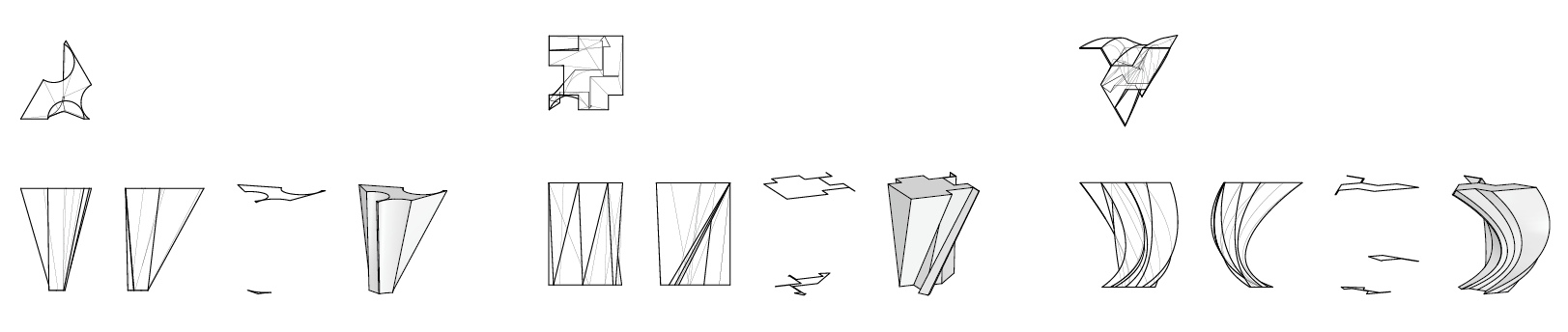 3D forms generated from lofting two or three 2D parametric forms
