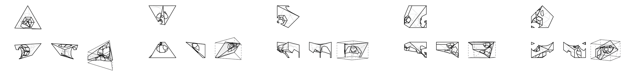 3D forms generated from polygonal cut-outs made within triangular or square parameters
