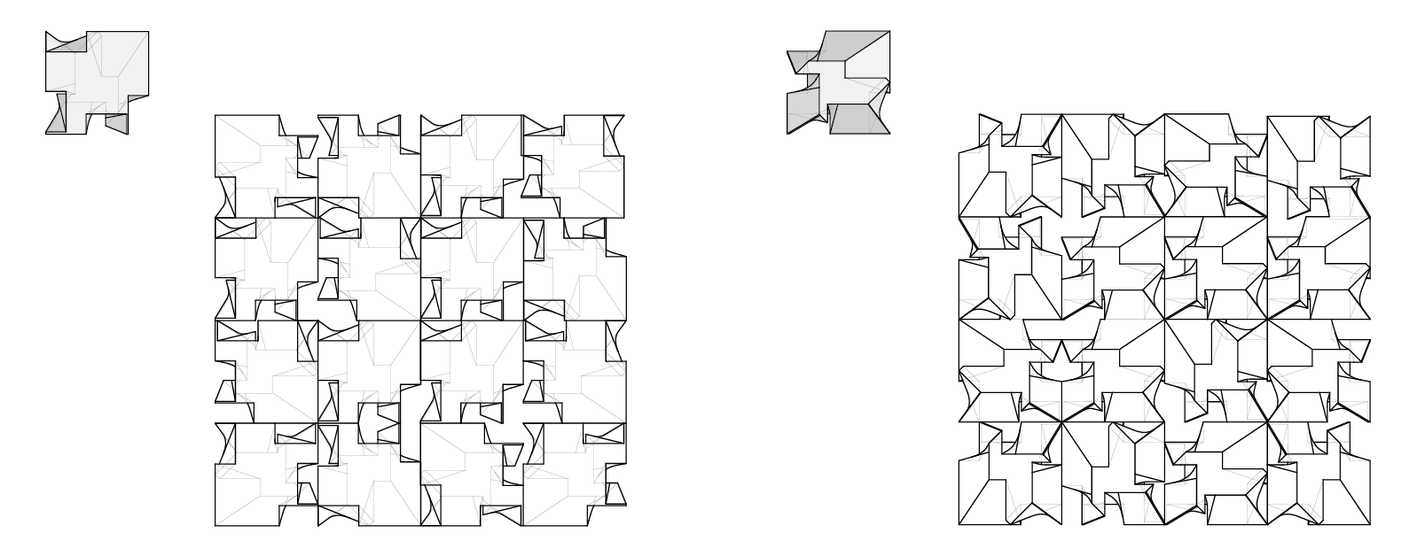 Top and bottom views of 3D grids consisting of two lofted triangle-based cutout forms (first row) and two lofted square-based cutout forms (second row)