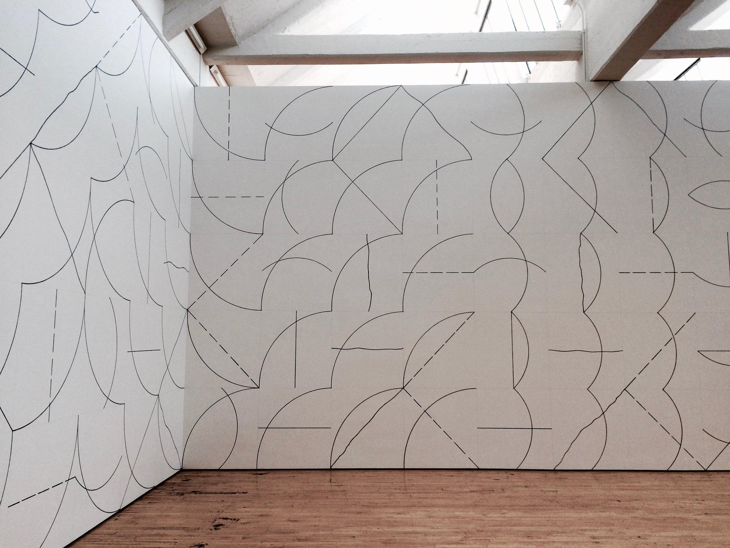 Sol Lewitt,  Wall Drawing #136: Arcs and Lines , 1972, Dia Beacon