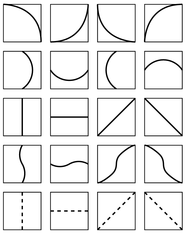 glossary of units: all two-part combinations of white arcs from corners and sides, and white straight, non-straight, and broken lines
