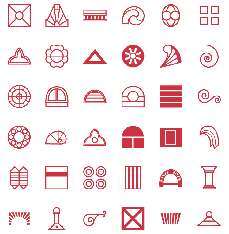 glossary of icons made by abstracting architectural features of the library