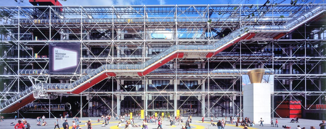 Centre Pompidou, Paris, France, designed by Richard Rogers and Renzo Piano, along with Gianfranco Franchini