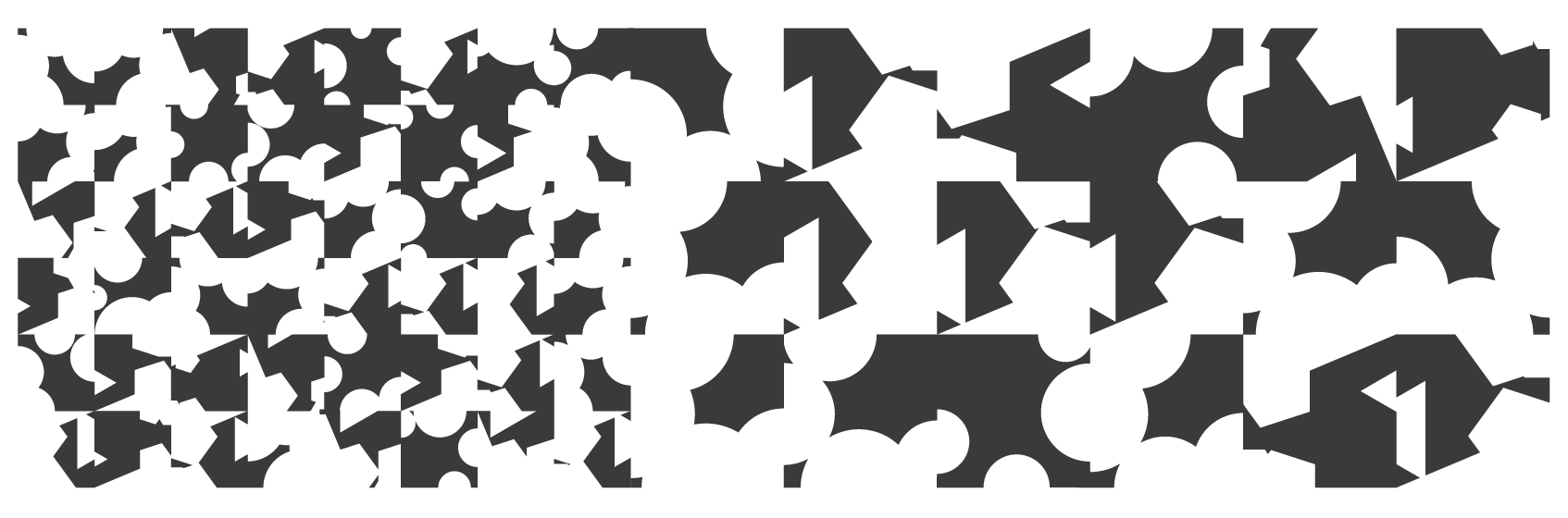 2D grid with square base generated from parameters, rotations, and variations in the scaling and frequency of circular and polygonal cut-outs