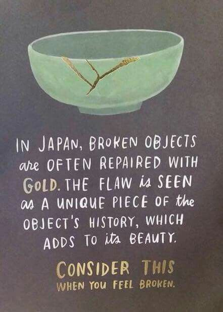 - Kintsugi: Turning Your Wounds Into WisdomAn all day workshop at Santosha Yoga Studio, in Sandy Springs. Integrating the science of forgiveness, meditation, and somatic yoga practices with the ancient Japanese art of Kintsugi.January 13th 9:00a.m. to 5:00p.m.Pre-Registration is required, spots are limited and almost full.To reserve your spot today, click on image.