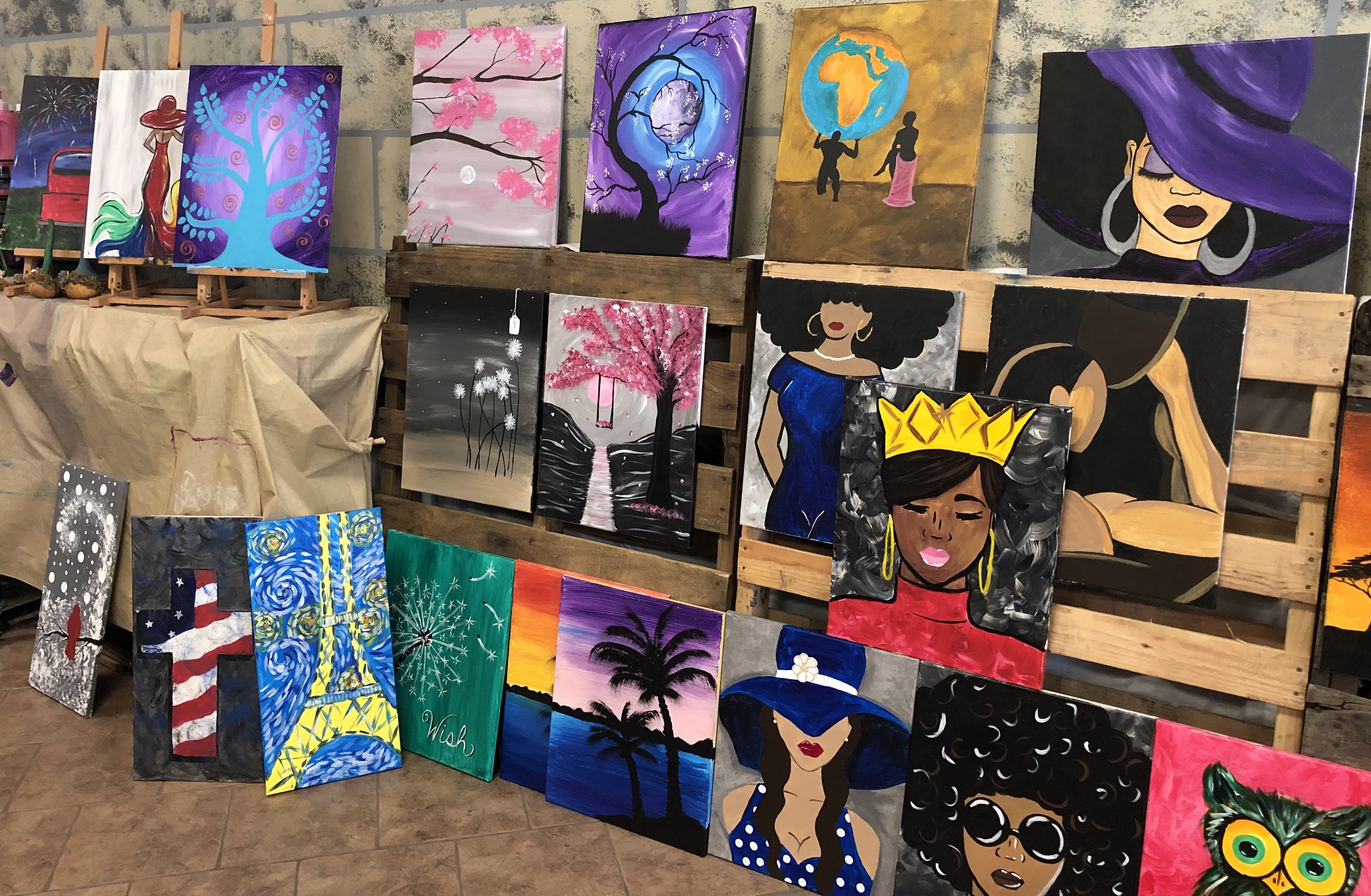 $25 - Painting created for classes are now available to purchase.