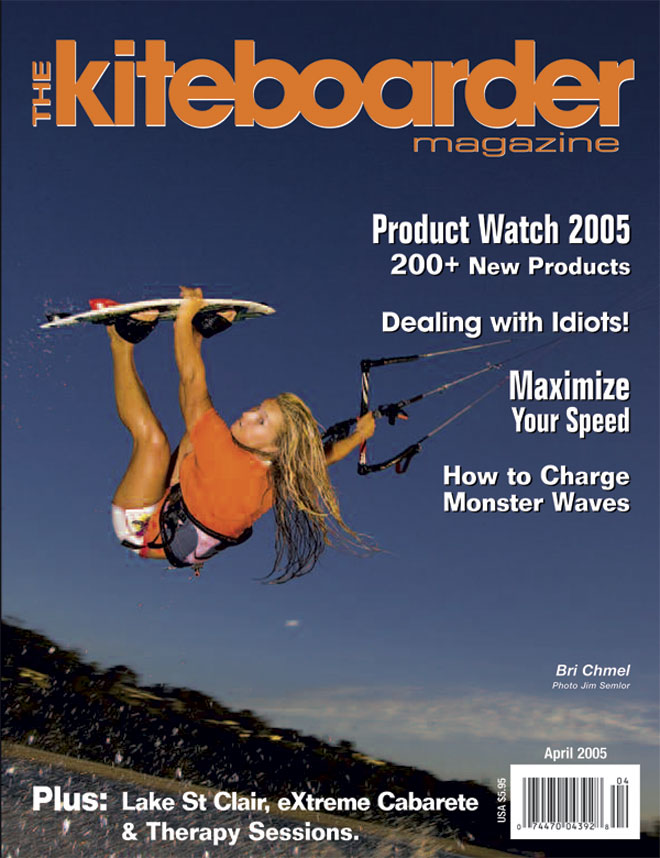 I was the first female kiteboarder on the cover of a magazine. The Kiteboarder Magazine, April 2005, Byron Bay, Australia.