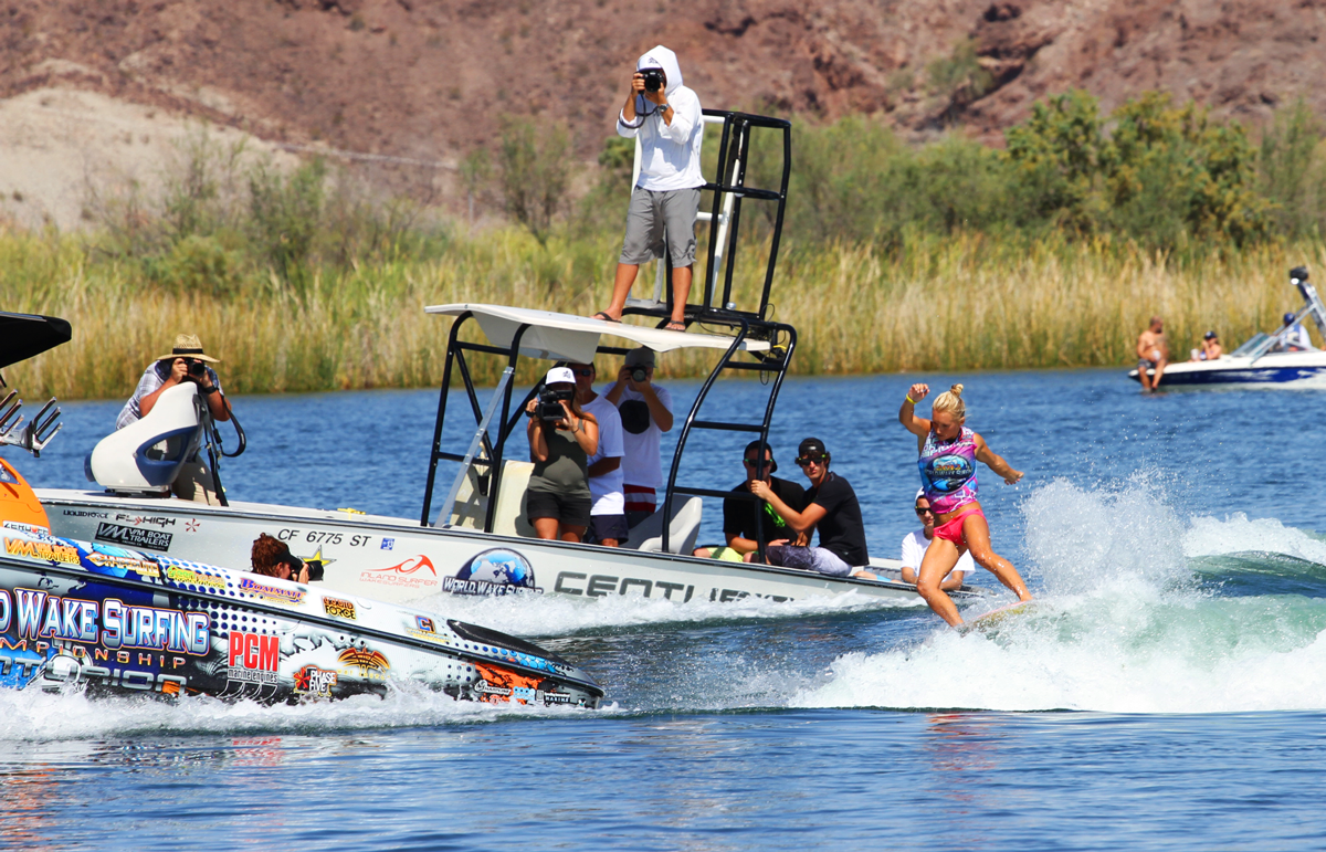 Competing at the 2013 World Wakesurfing Championships in Parker, AZ.