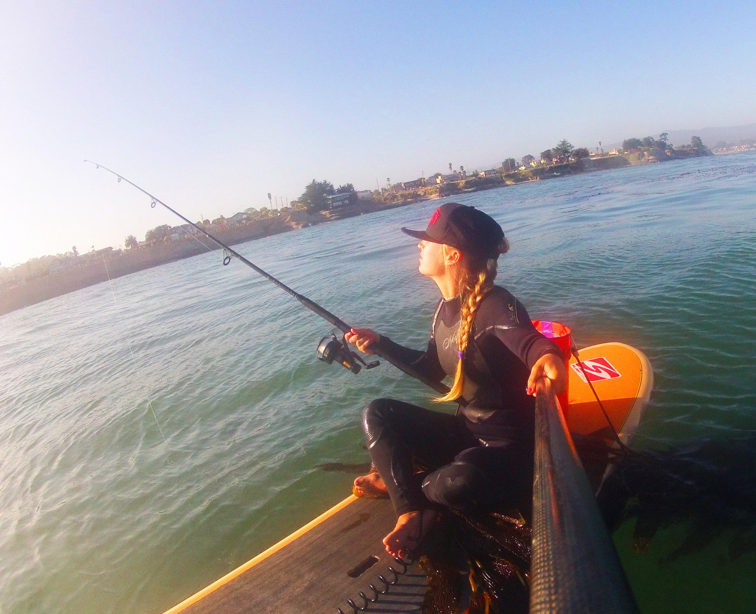 Paddleboard fishing off of Pleasure Point, Santa Cruz, for rock cod and halibut.