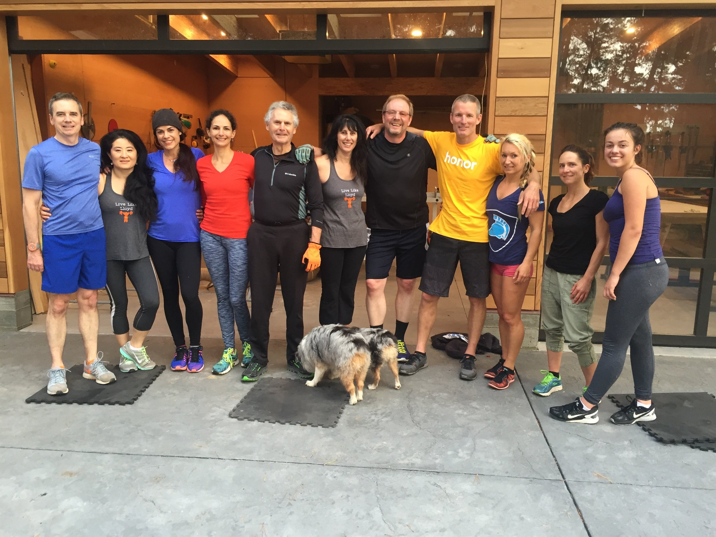 Our Tuesday Thrusday Crossfit clan in Carmel in front of our gym garage.