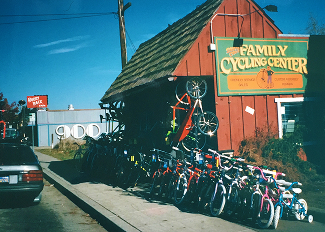 The first location of Family Cycling Center on 41st Ave in Capitola, 1988.