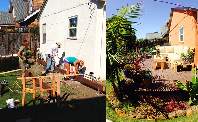 Before and after of the deck of Bri Chmel's Pleasure Point cottage.