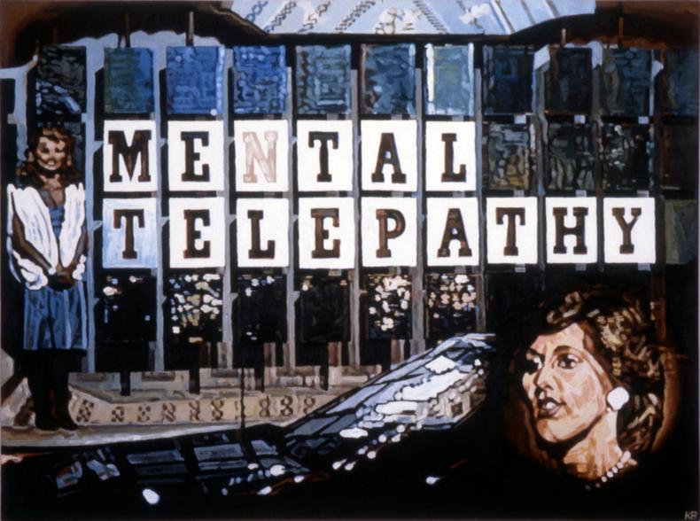 """Mental Telepathy,"" 1984; Acrylic on Canvas; 36""X48"""