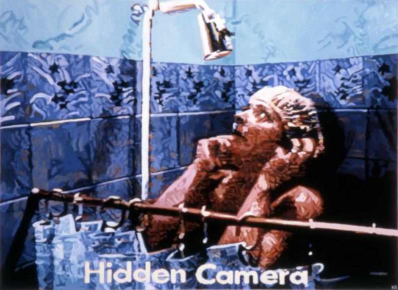 """""""Hidden Camera,"""" 1985; Casein on Paper; 22""""X30"""""""