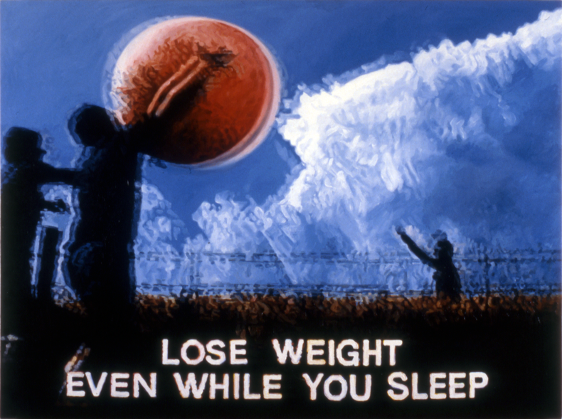 """Lose Weight Even While You Sleep,"" 1986; Oil on Canvas; 36""X48"""
