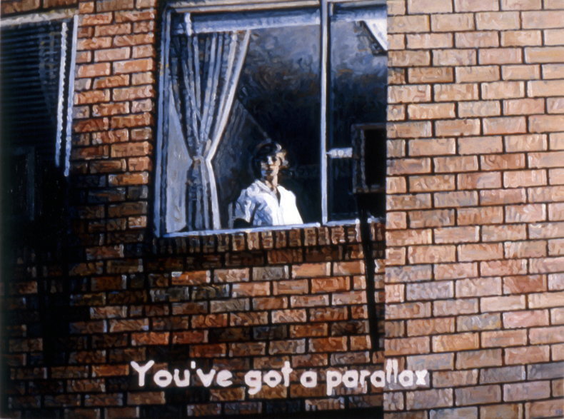 """You've Got a Parallax #2,"" 1986; Oil on Canvas; 36""X48"""
