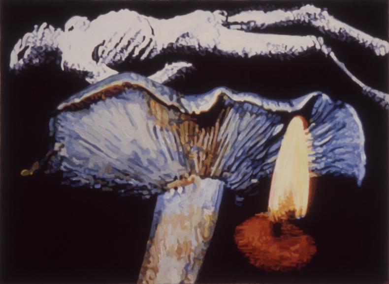 """""""His Death,"""" 1986; Casein on Paper; 22""""X30"""""""