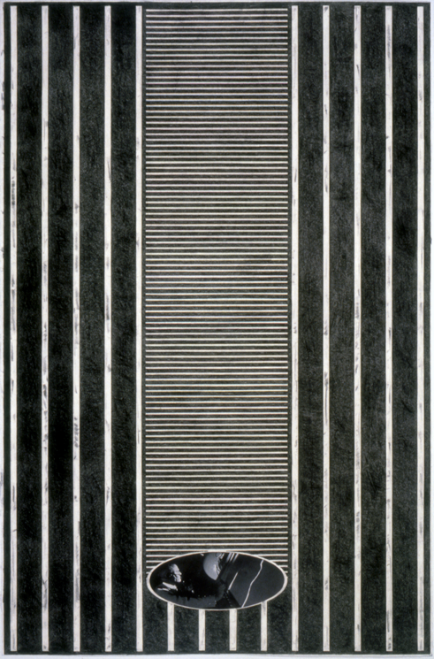 """Tread #3,"" 1995; Graphite Rubbing/Collage on Paper; 40""X26"""